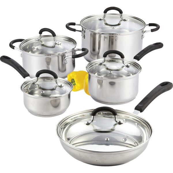 10 Piece Stainless Steel Cookware Set by Cook N Home
