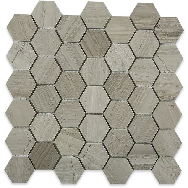 Hexagon 2 x 2 Marble Mosaic Tile in Wooden Beige by Splashback Tile