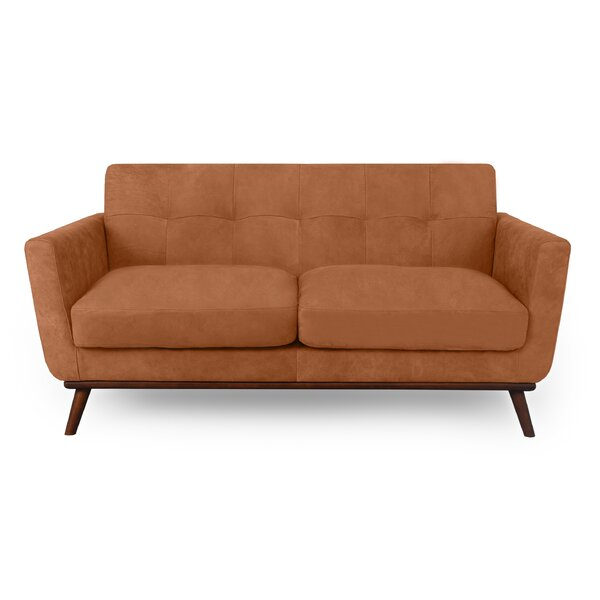 Fine Brand Luther Mid-Century Leather Loveseat by Corrigan Studio by Corrigan Studio