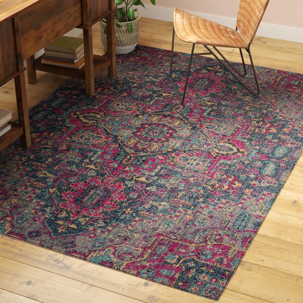 Thadine Denim Oriental Area Rug by Bungalow Rose