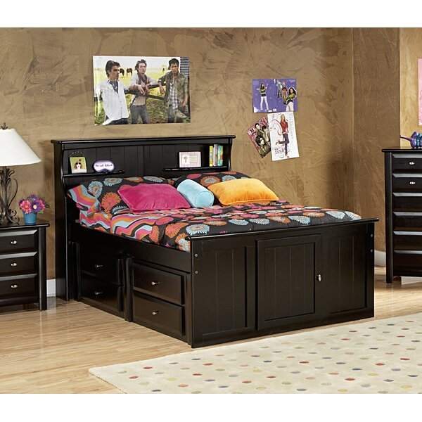 Eldon Full Bed with Bookcase Headboard and Storage by Harriet Bee