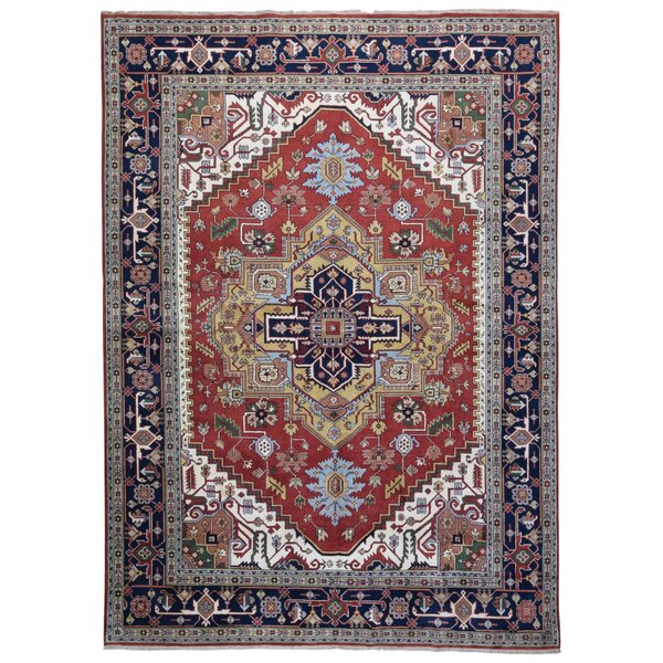 One-of-a-Kind Roselle Oriental Hand-Knotted Wool Red/Blue Area Rug by Bloomsbury Market