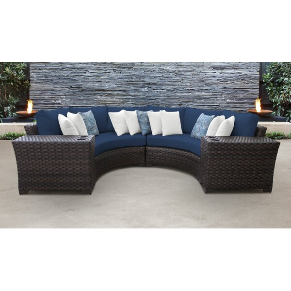 River Brook 4 Piece Outdoor Wicker Patio Furniture Set 04a by kathy ireland Homes & Gardens by TK Classics
