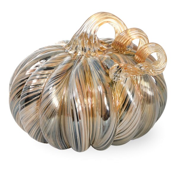 Glass Pumpkin Neutral Ribbon Figurine by Ebern Designs