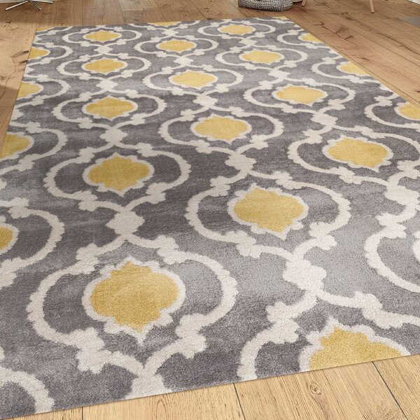 Melrose Gray/Yellow Area Rug by Andover Mills