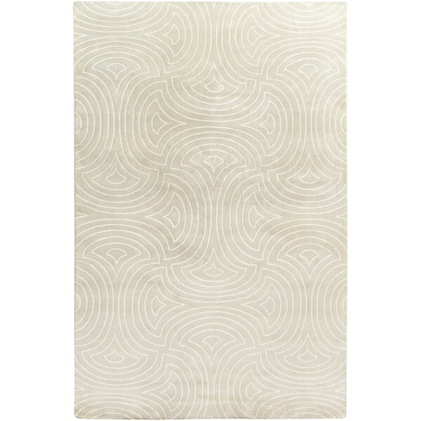 Lethe Modern Hand-Knotted Tan/Cream Area Rug by Brayden Studio
