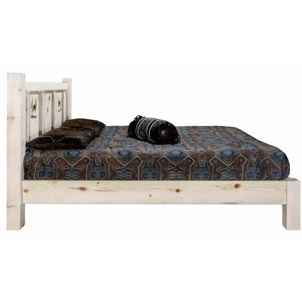 Tustin Laser Engraved Elk Design Platform Bed by Loon Peak