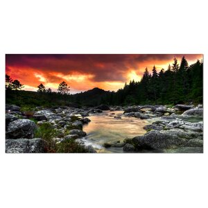 Rocky Mountain River at Sunset Photographic Print on Wrapped Canvas by Design Art