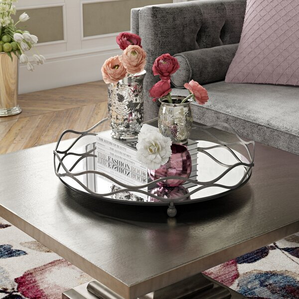 Round Mirror and Metal Mirrored Tray by Willa Arlo Interiors