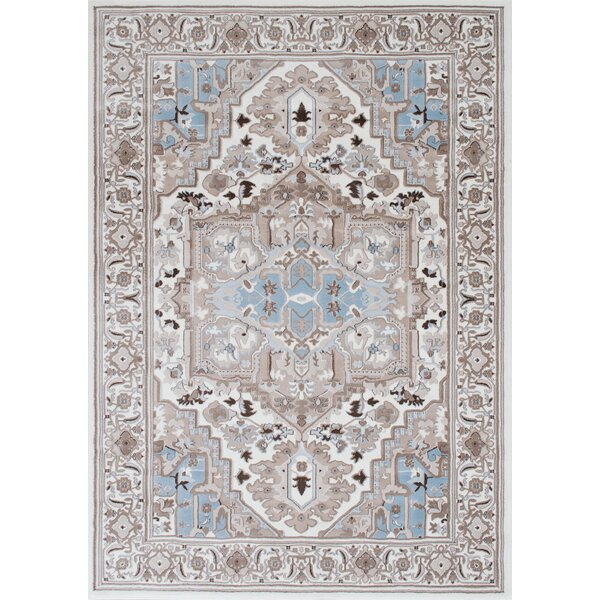 Medina Bohemian Style Ice Blue Area Rug by Bloomsbury Market