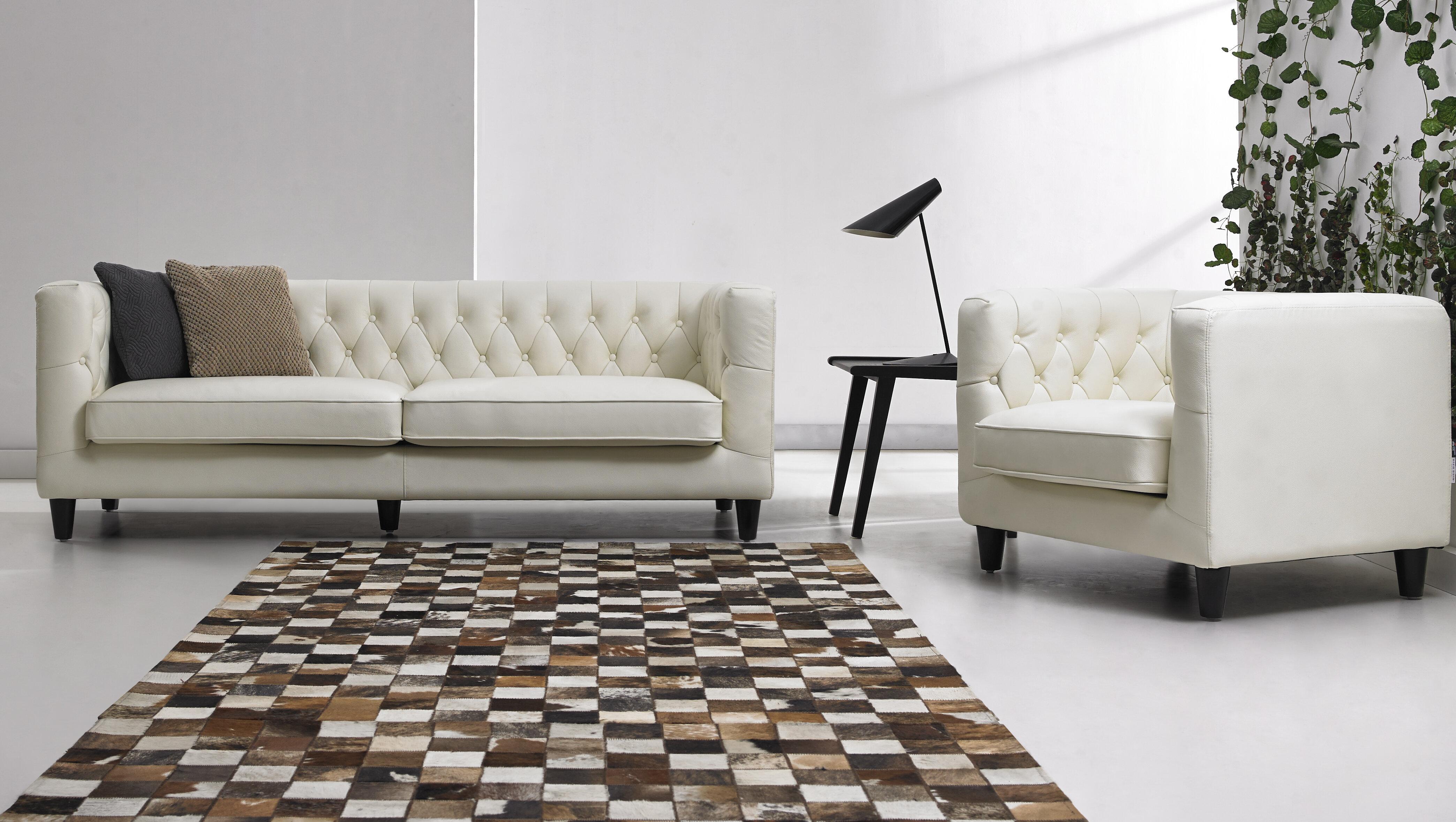 DavidDivaniDesigns 2 Piece Leather Living Room Set | Wayfair