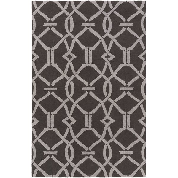 Dyess Hand-Crafted Slate/Gray Area Rug by Charlton Home