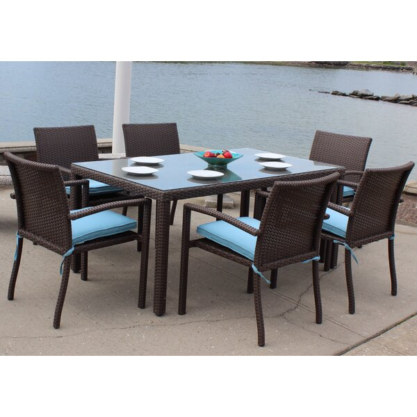 Vandewa Outdoor Wicker 7 Piece Dining Set with Cushions