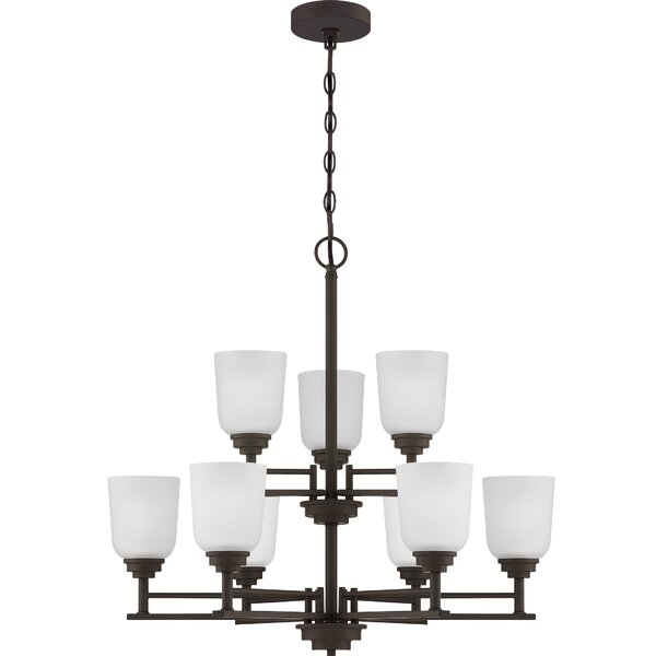 Fleisher 9 - Light Shaded Tiered Chandelier By Winston Porter