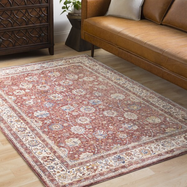 Jenessa Traditional Rose/Burgundy Area Rug by Darby Home Co