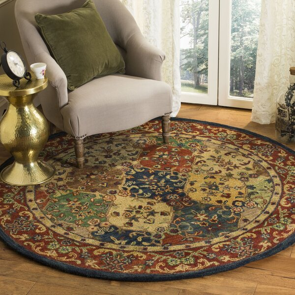 Moss Hand Tufted Wool Red/Yellow Area Rug by Bloomsbury Market