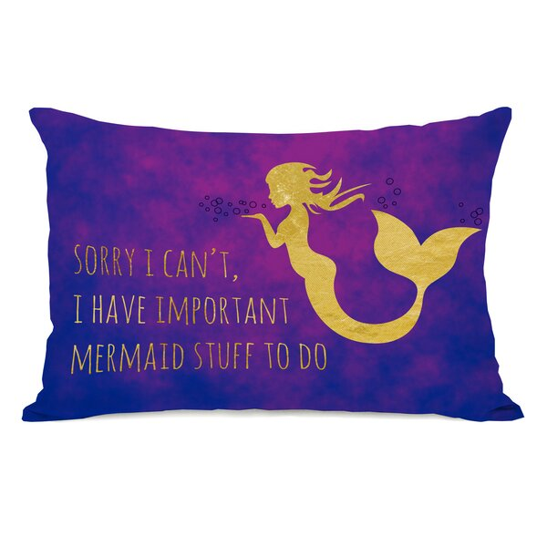 Hoehn Important Mermaid Stuff Outdoor Lumbar Pillow by Zoomie Kids