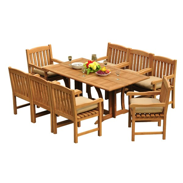 Mastropietro 9 Piece Teak Dining Set by Rosecliff Heights