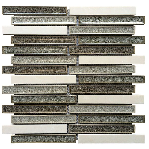 0.75 x 6 Ceramic and Stone Linear Blend Mosaic Tile in Gray and Tan by Intrend Tile