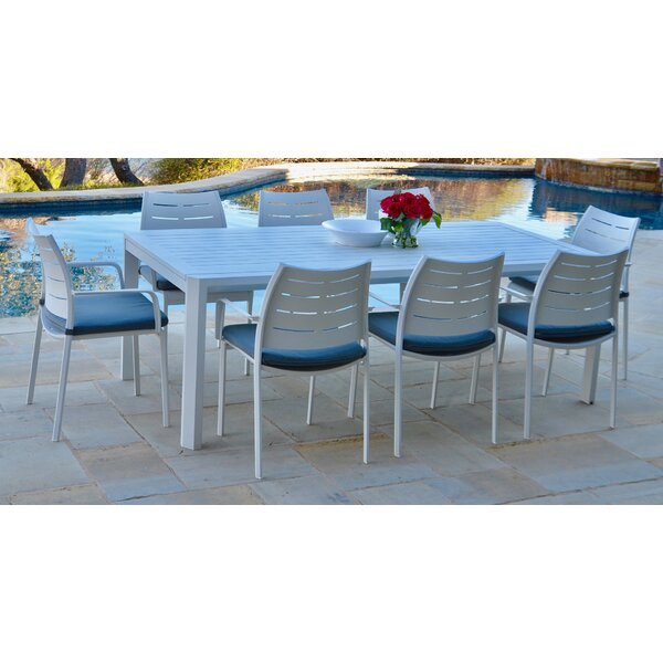 Bemelle 9 Piece Sunbrella Dining Set with Cushions by Ebern Designs
