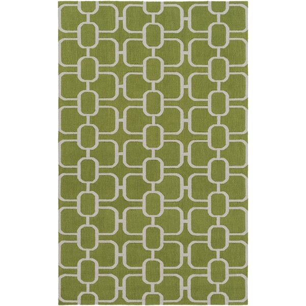 Herring Hand-Hooked Grass Green/Light Gray Area Rug by Brayden Studio
