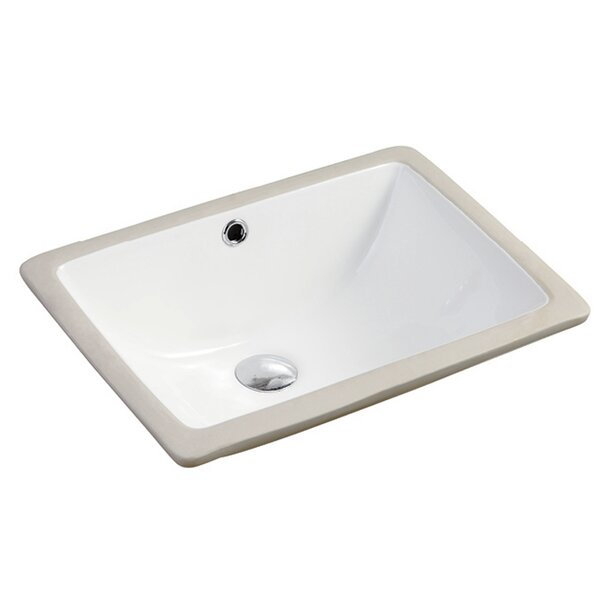 Seaton Ceramic Rectangular Vessel Bathroom Sink with Overflow by Safavieh