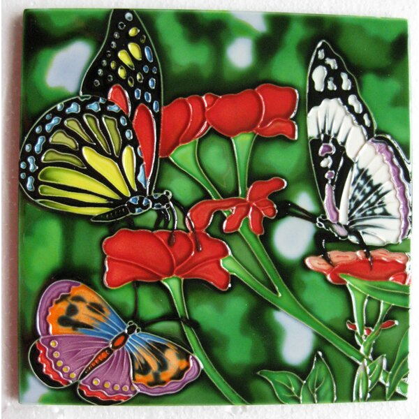 4 x 4 Ceramic Butterfly Decorative Accent Tile by Continental Art Center