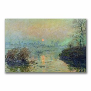 Sun Setting over the Seine by Claude Monet Painting Print on Canvas by Trademark Fine Art