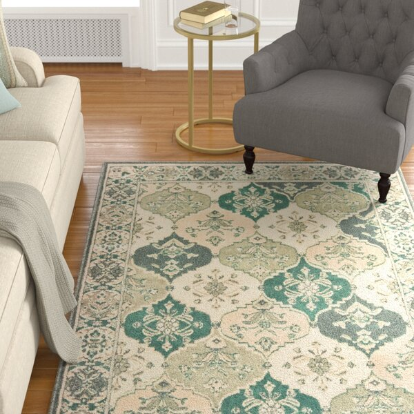 Manford Ivory/Gray/Blue Area Rug by Charlton Home