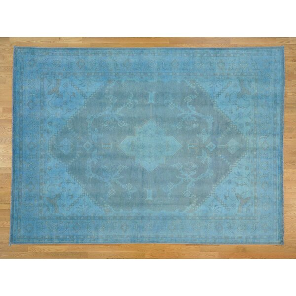 One-of-a-Kind Bearer Overdyed Handwoven Blue Wool Area Rug by Isabelline
