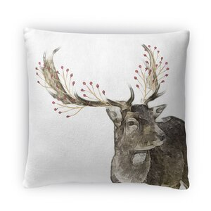 Berry Deer Throw Pillow