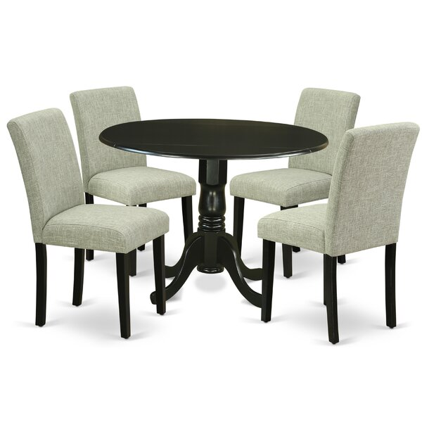 Schlemmer 5 Piece Drop Leaf Solid Wood Dining Set by Charlton Home Charlton Home