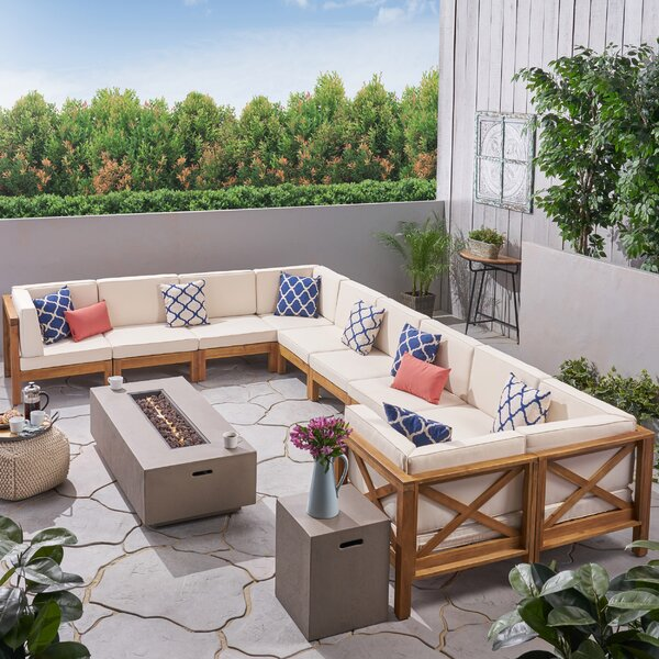 Heidi Outdoor 10 Piece Sectional Seating Group with Cushion by Longshore Tides