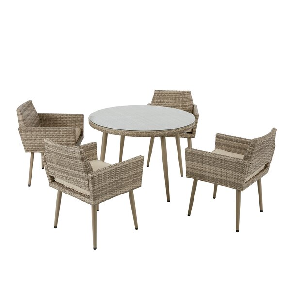 Pantano 5 Piece Dining Set with Cushions by Bungalow Rose