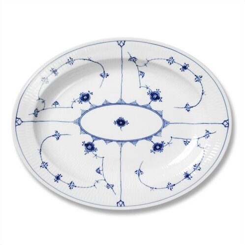 Blue Fluted Plain Oval Platter by Royal Copenhagen