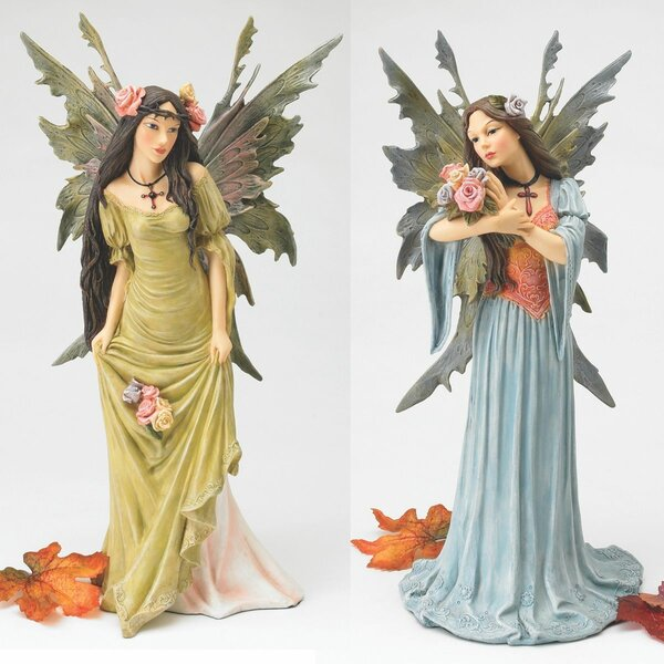 """Mystical Fiona The Flower Fairy 17/"""" Garden Statue Sculpture By Evelyn Myers Hart"""