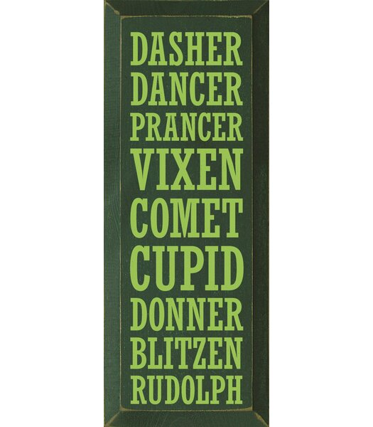 Dasher-Dancer-Prancer-Vixen-Comet-Cupid-Donner-Blitzen-Rudolph Textual Art Plaque by Sawdust City