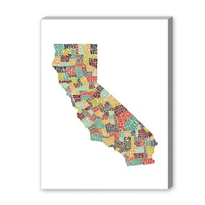 Mapart California Textual Art on Wrapped Canvas in Color by Americanflat