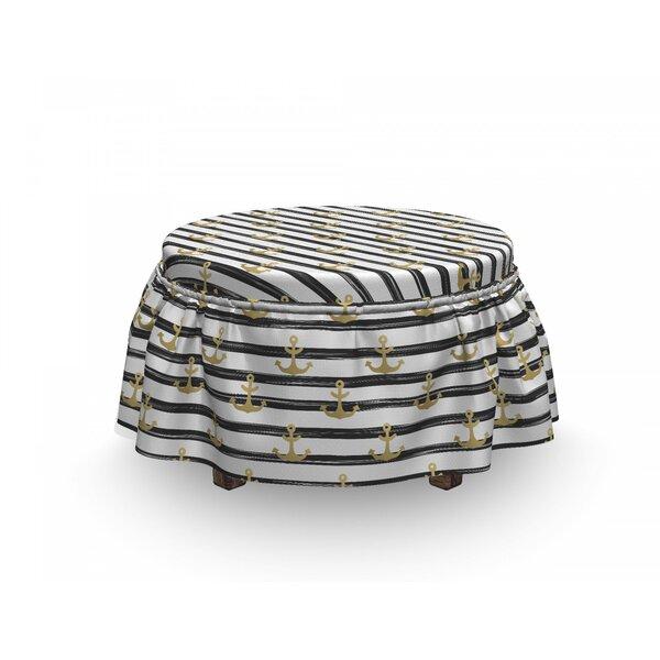 Anchor Stripes Cruise 2 Piece Box Cushion Ottoman Slipcover Set By East Urban Home