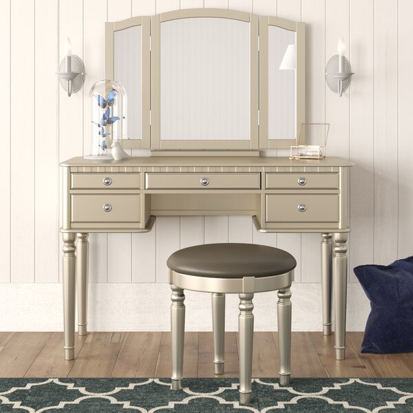 Absher Vanity Set with Mirror by Rosdorf Park
