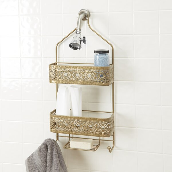 Gillespie 2-Shelf Shower Caddy with Soap Holder by Bungalow Rose