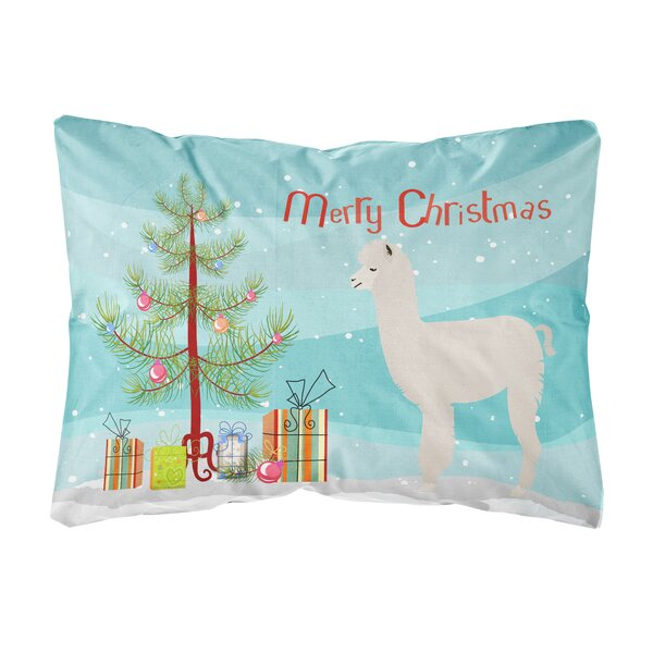 Oloran Alpaca Christmas Fabric Indoor/Outdoor Throw Pillow by The Holiday Aisle