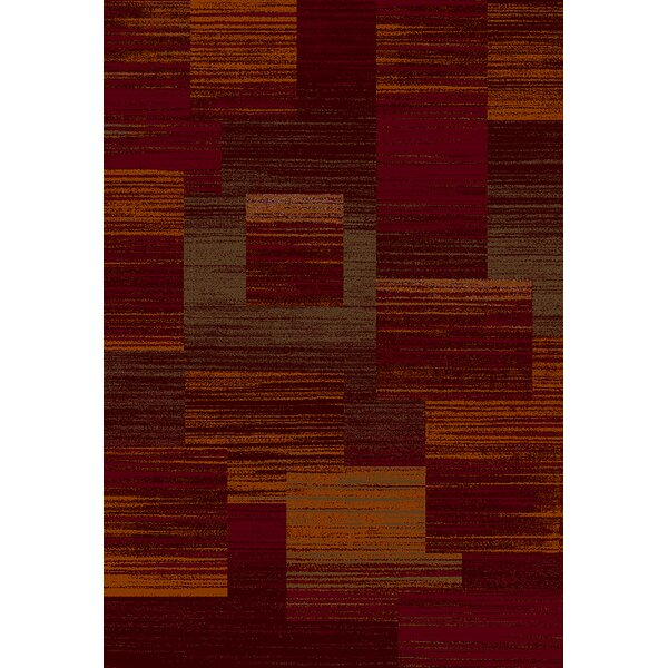Mccampbell 3D Modern Contemporary Burgundy/Terracotta Area Rug by Ivy Bronx
