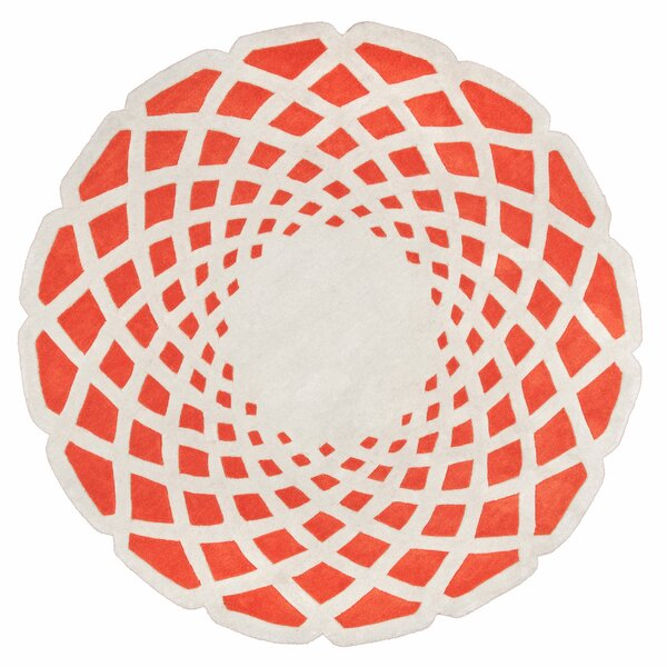 Marceline Orange Crystal Area Rug by Ebern Designs