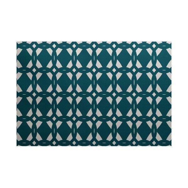 Kneeland Geometric Print Teal Indoor/Outdoor Area Rug by Wrought Studio