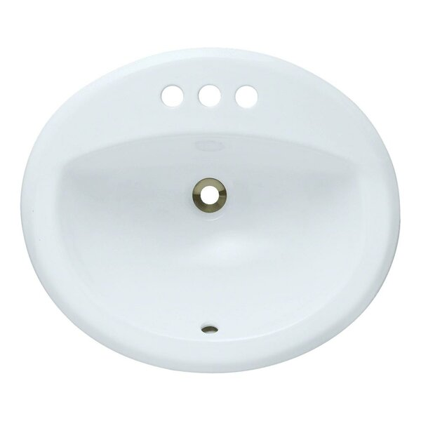 Vitreous China Oval Drop-In Bathroom Sink with Overflow by MR Direct