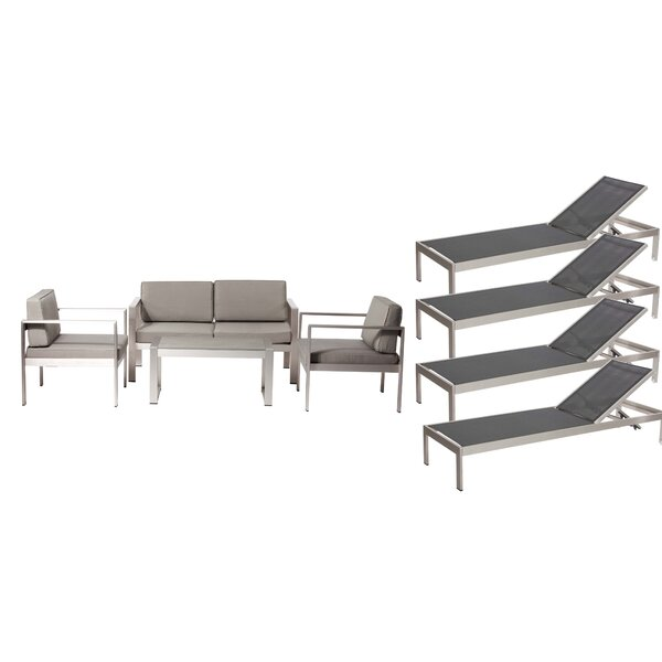 KRN LRG 6 Pieces Complete Patio Set with Cushions by Rosecliff Heights
