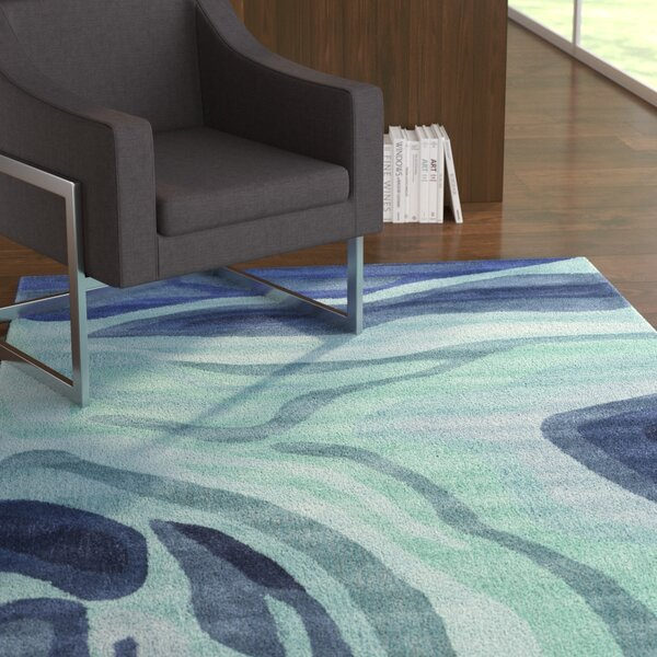 Kaye Hand-Tufted Blue Area Rug by Ebern Designs