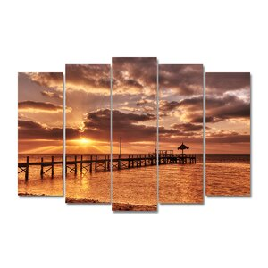 'Sunrise Pier' 5 Piece Photographic Print on Wrapped Canvas Set by Ebern Designs