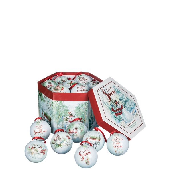 Keira Snowman Let It Snow 14 Piece Ball Ornament Set by The Holiday Aisle